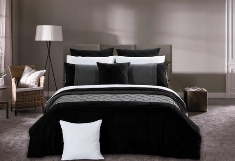 Super King Size Black Diamond Pintuck Quilt Cover Set(3PCS)