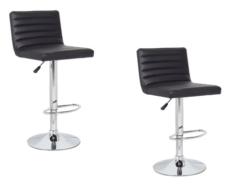 2x Black PU Leather Full Sectioned Kitchen Bar Stools
