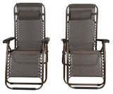 2 x Bronze Lounge Chairs - Patio Outdoor Garden Yard Beach Caravan