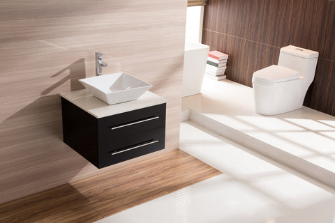 600mm Wall Hung Bathroom Vanity Unit With Stone Top, Basin - Della Francesca