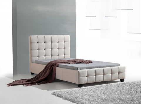 King Single Linen Fabric Deluxe Bed Frame Beige