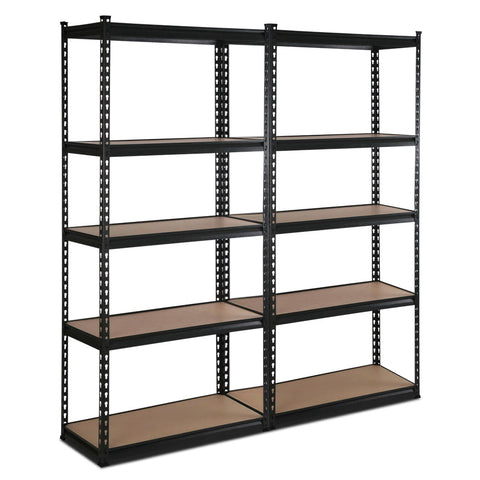 Giantz 5 Tier Industrial Shelving Unit Set of 2 - Black