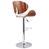 Set of 2 Wooden Kitchen Bar Stool Padded Seat White