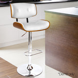 PU Leather Bar Stool with Chrome Base White