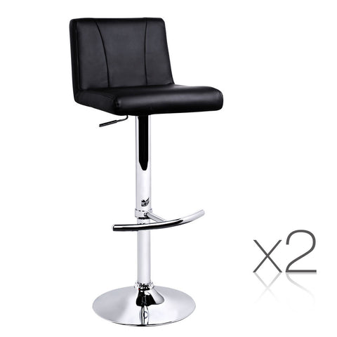 Set of 2 PU Leather Bar Stool - Black