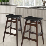 Set of 2 Rubberwood Bar Stools - Black