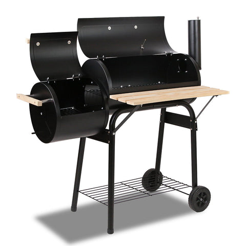 Grillz 2-in-1 Offset BBQ Smoker - Black