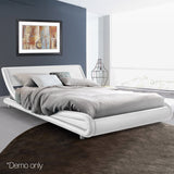 PU Leather Bed Frame King White