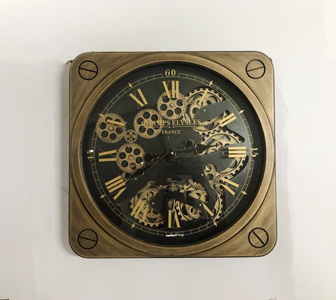 Luxurious Square Rotary Gears Metal Wall Clock
