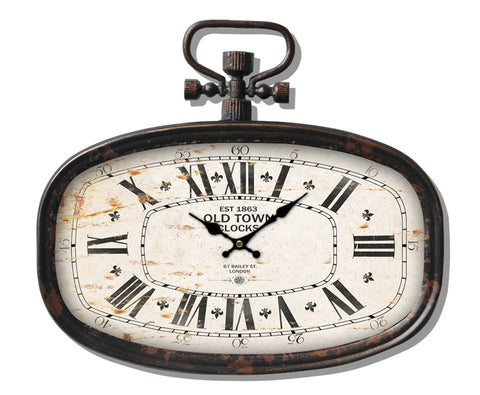 Classic Oval Metal Clock With Hook