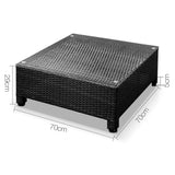 5 pcs Black Wicker Rattan 4 Seater Outdoor Lounge Set Grey