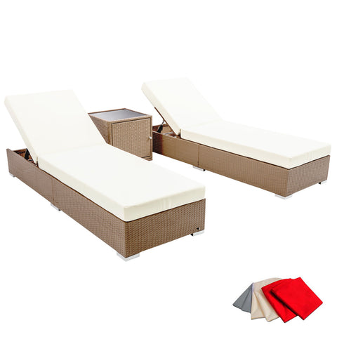 3 pcs Brown Wicker Rattan 2 Seater Outdoor Lounge Set Beige