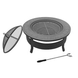Outdoor Fire Pit BBQ Table Grill Fireplace Round