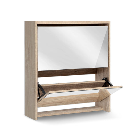 Artiss Mirrored Wooden Shoe Cabinet Rack
