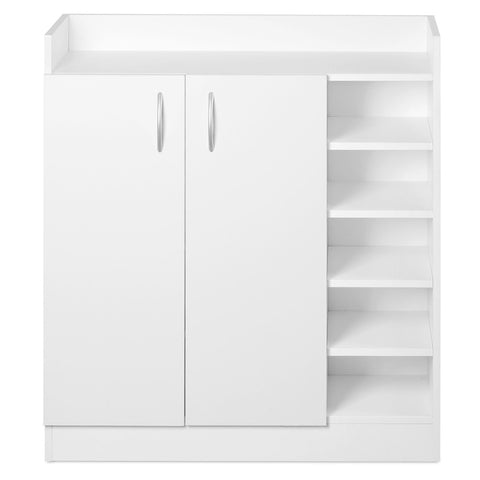 2 Doors Shoe Cabinet Storage Cupboard White