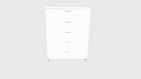 Elisha High Gloss 5 Drawer Tallboy Chest - White