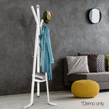 Wooden Coat Rack Clothes Stand Hanger White