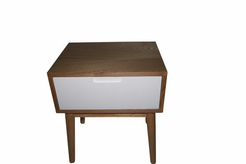 Annika Scandinavian Side Table with Drawer - White