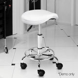 Saddle PU Swivel Salon Stool White