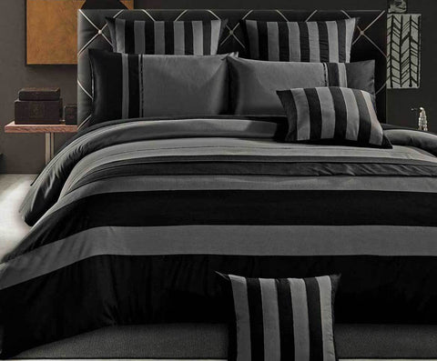 Super King Size Grey Black Sriped Quilt Cover Set(3PCS)