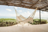 Deluxe Outdoor Cotton Mexican Hammock  in Cream  Colour