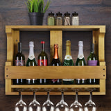 7 Bottle Wall Mounted Wine & Glass Rack - Natural