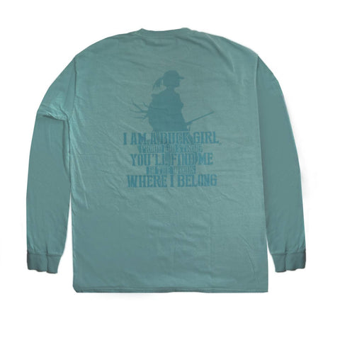 Adult Proud Buck Girl Seafoam Long Sleeve