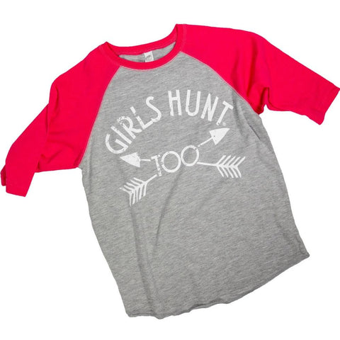 Youth 3/4 Sleeve Girls Hunt Too Shirt