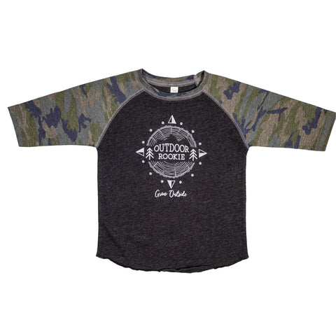 Youth 3/4 Camo Sleeve Outdoor Rookie Shirt