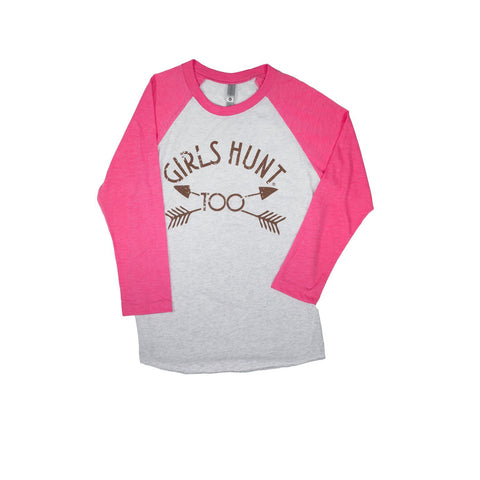 Adult 3/4 Sleeve Girls Hunt Too Shirt