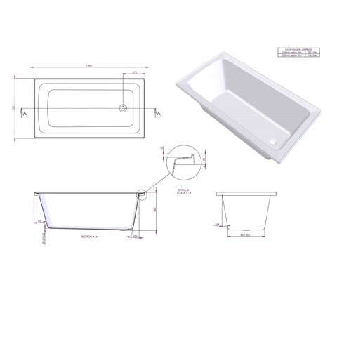 1395 x 810 x 520 mm Shenseki Bath Tub