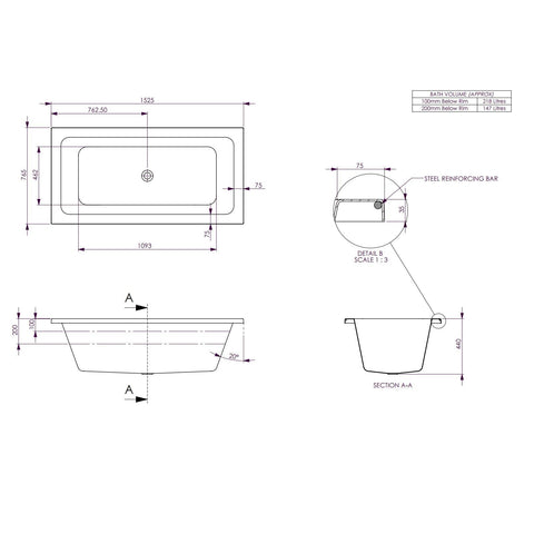 1525 x 760 x 440 mm Carina Bath Tub