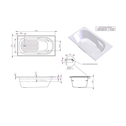 1520 x 815 x 445 mm Modena Bath Tub