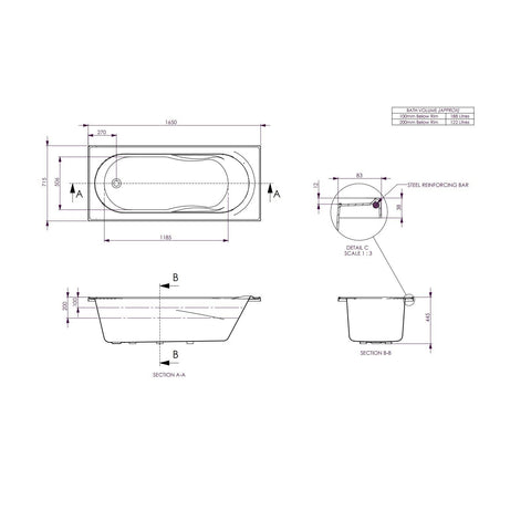 1650 x 715 x 445 mm Adatto Bath Tub