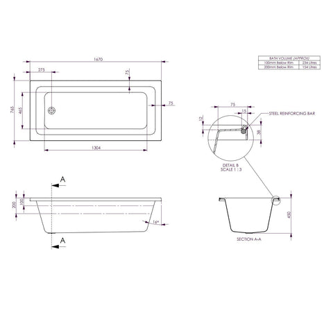1670 x 765 x 450 mm Cortez Bath Tub