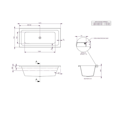 1675 x 760 x 440 mm Carina bath Tub