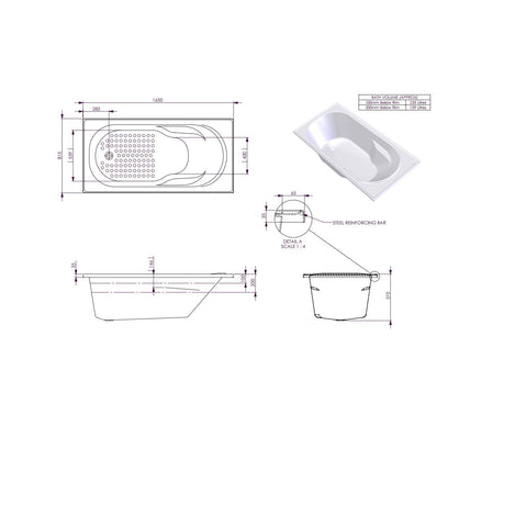 1650 x 815 x 510 mm Modena Bath Tub