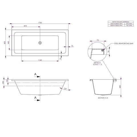 1750 x 805 x 480 mm Carina Bath Tub