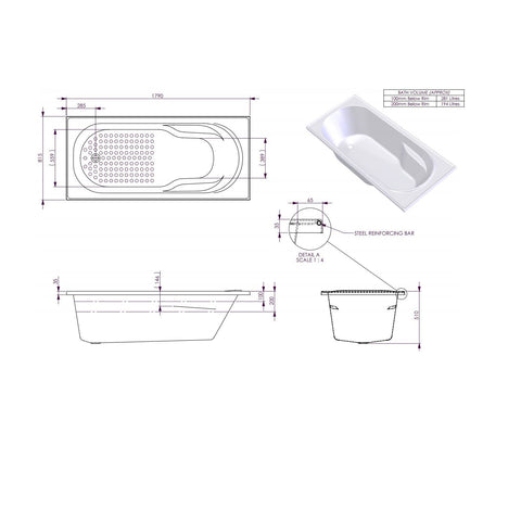 1790 x 815 x 510 mm Modena Bath Tub