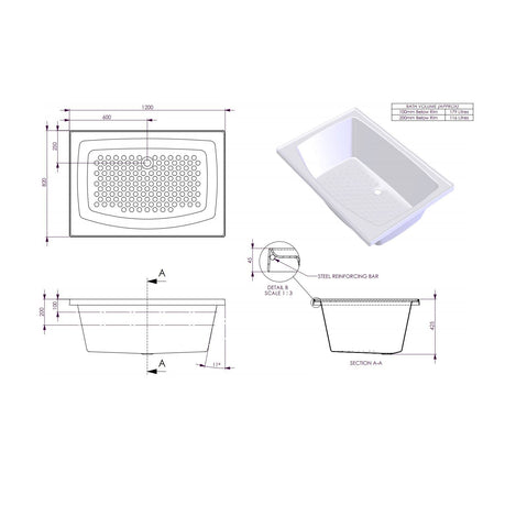 1200 x 820 x 425 mm Azzurro Bath Tub