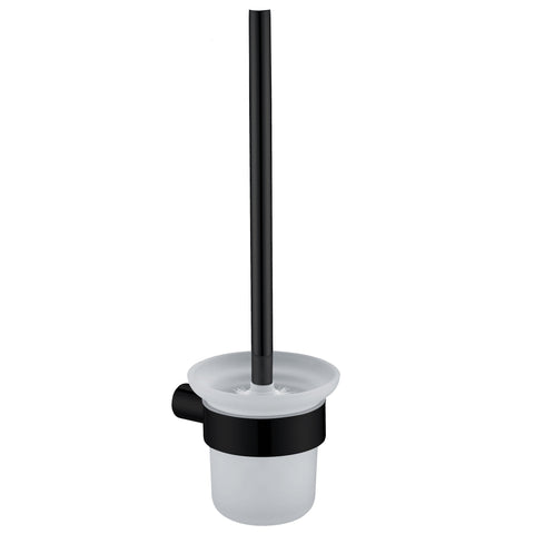 Heba Glass Toilet Black Brush Holder