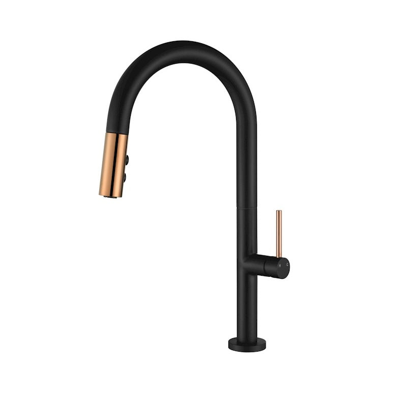 Bentley Rose Gold & Black Pull Out Kitchen Mixer