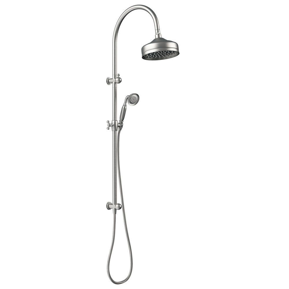 LILLIAN Brushed Nickel Twin Rail Shower