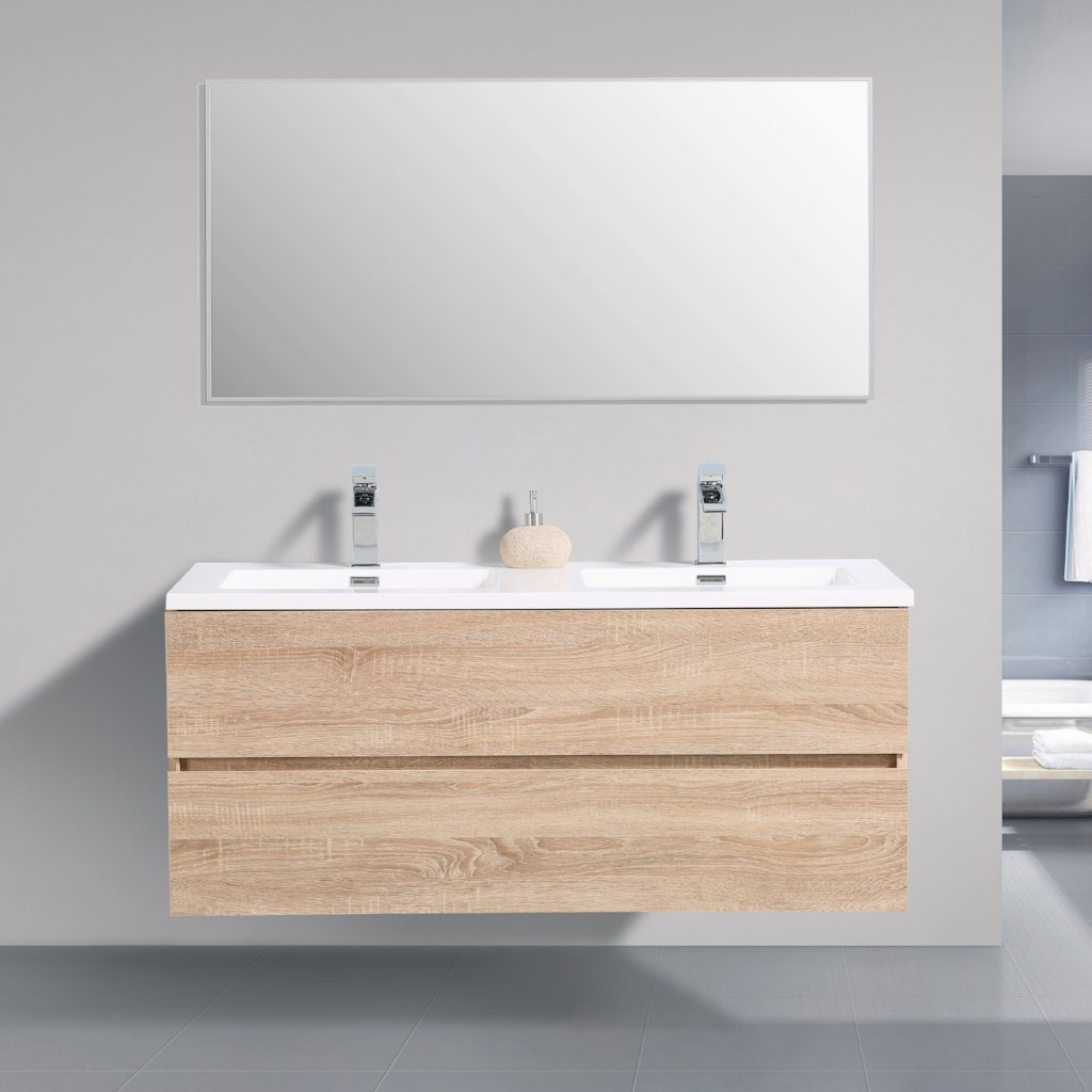 Avia 1200 White Oak Timber Double Bowl Vanity By indulge®