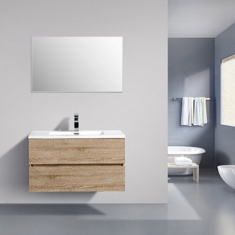 Avia 900 mm White Oak Timber Vanity By Indulge®