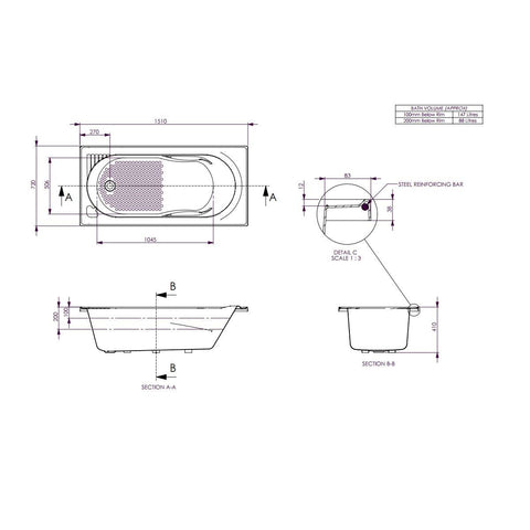 1510 x 715 x 380 mm Bambino Bath Tub