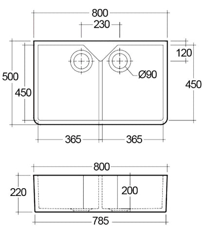 800 x 500 x 220 mm Double Butler Sink