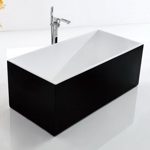 1500 mm Amber Square Black Multi-fit Freestanding Bath Tub
