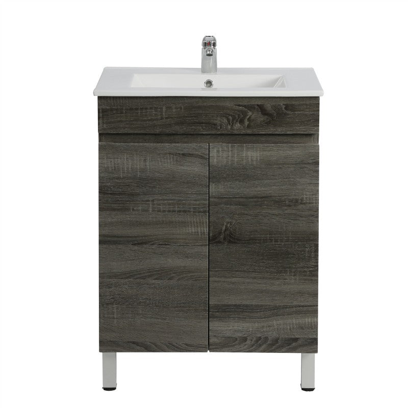 Berge 600 Grey Oak Narrow Freestanding Vanity