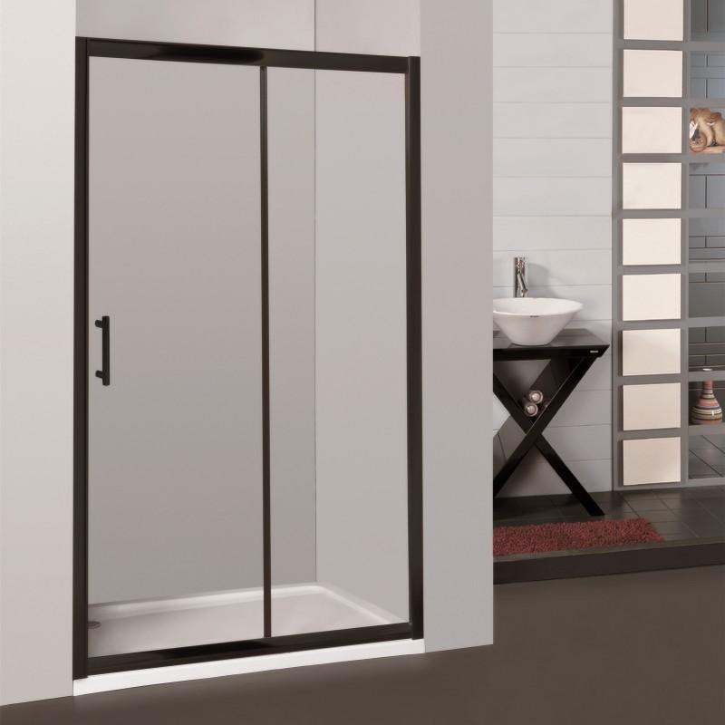1000 - 1100 Black Wall to Wall Sliding Shower Screen